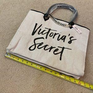 NWT Victoria's Secret canvas tote & gold hardware